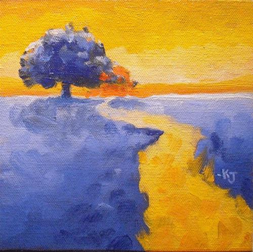 """#17 Lone Oak, Golden Sunset on a Blue Day"" original fine art by Kathy Johnson"