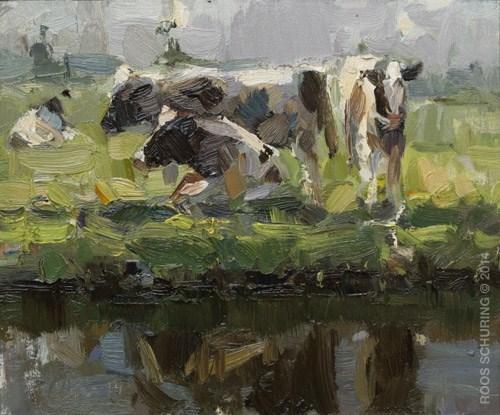 """Three Cows – Painting Plein Air"" original fine art by Roos Schuring"