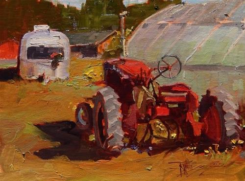"""""""Airstreams and Tractors  Paint the Peninsula, plein air, oil painting by Robin Weiss"""" original fine art by Robin Weiss"""