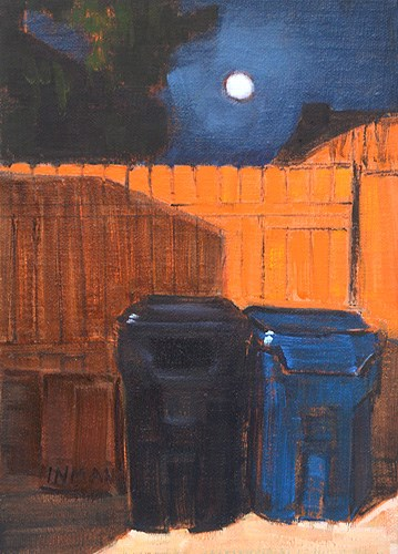 """Trash Cans, Moonlight"" original fine art by Kevin Inman"
