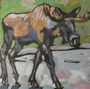 """Sidewalk Strut"" original fine art by Kat Corrigan"
