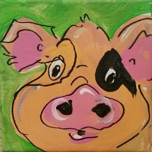 """Chunky Pig"" original fine art by Terri Einer"