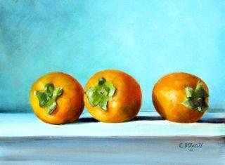 """Persimmons"" original fine art by Christina Dowdy"