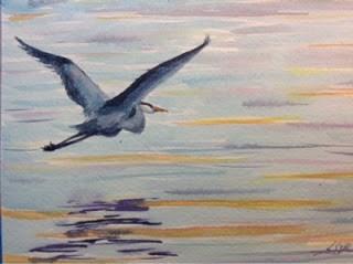"""Day 13 - Sunset Blue"" original fine art by Lyn Gill"