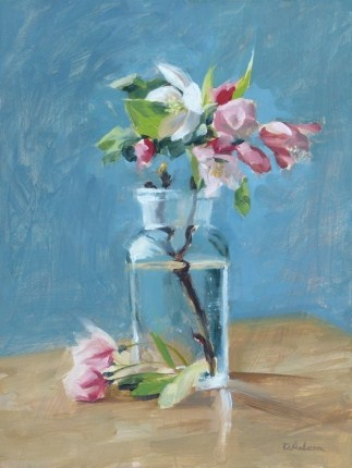 """Oil painting of Apple Blossoms on Blue"" original fine art by Deb Anderson"