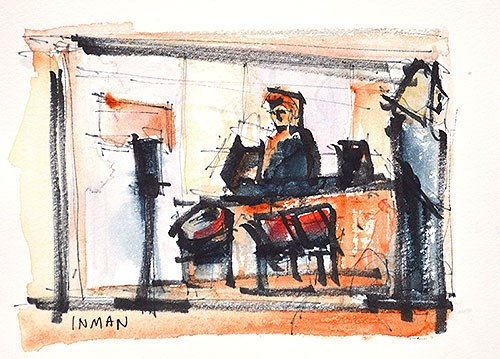 """Saturday at Starbucks"" original fine art by Kevin Inman"