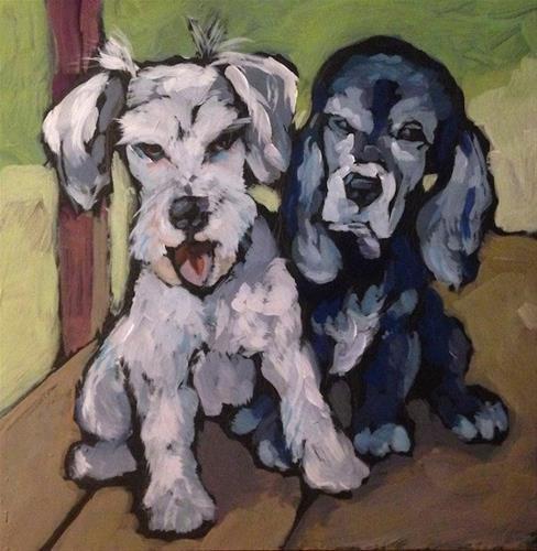 """Henri & Frankie, Friends Forever"" original fine art by Kat Corrigan"
