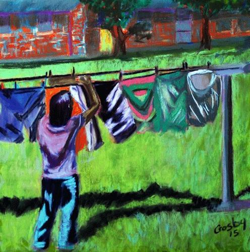 """""""Housework Sister"""" original fine art by Donna Crosby"""