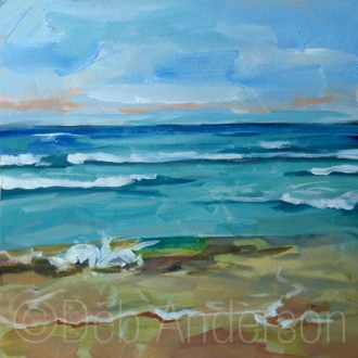 """Oil Painting: Waves at Lake Michigan"" original fine art by Deb Anderson"