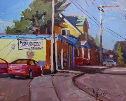 """The Poulsbohemian plein air, urban oil painting by Robin Weiss"" original fine art by Robin Weiss"