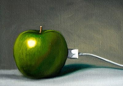 """""""Plugged in Apple iFruit"""" original fine art by Lauren Pretorius"""