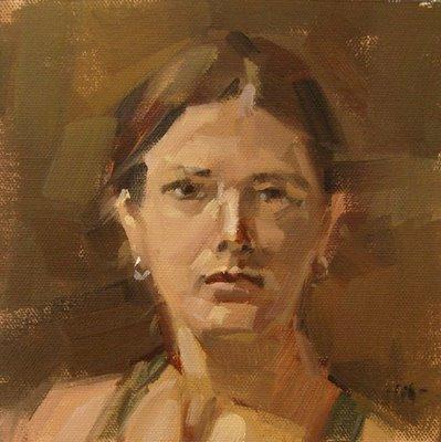 """""""Self Portrait 2 - n/a, & Pear Bomb"""" original fine art by Carol Marine"""