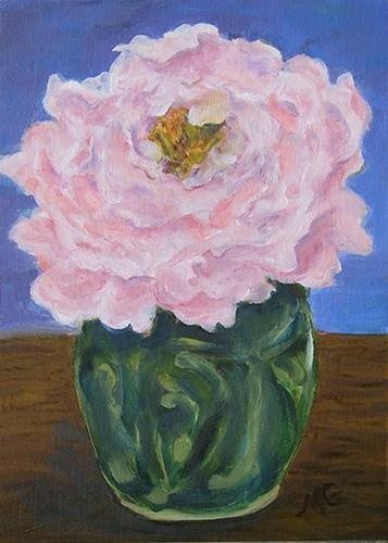 """Heirloom 19, Peony in Green Ginger Jar"" original fine art by Maud Guilfoyle"