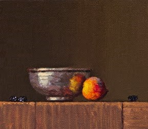 """Copper Bowl with Peach and Blackberries"" original fine art by Abbey Ryan"