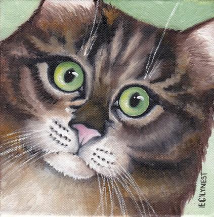"""Green Eyes"" original fine art by Elaine Lynest"