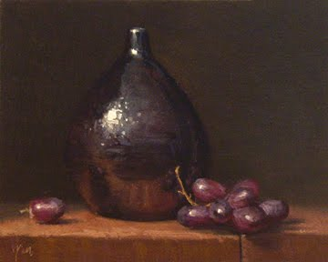 """""""Still Life with Red Grapes and Drop Vase"""" original fine art by Abbey Ryan"""