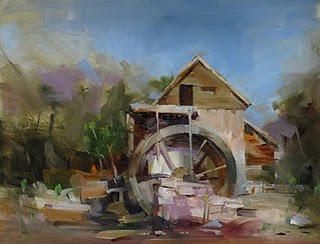 """""""Anderson Mill --- Traded with an Artist"""" original fine art by Qiang Huang"""