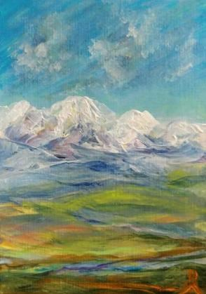 """""""3167 - MOUNTAIN APPROACH ACEO - National Parks Series"""" original fine art by Sea Dean"""