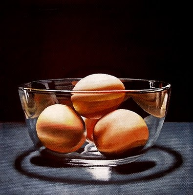 """Four Brown Eggs"" original fine art by Jelaine Faunce"