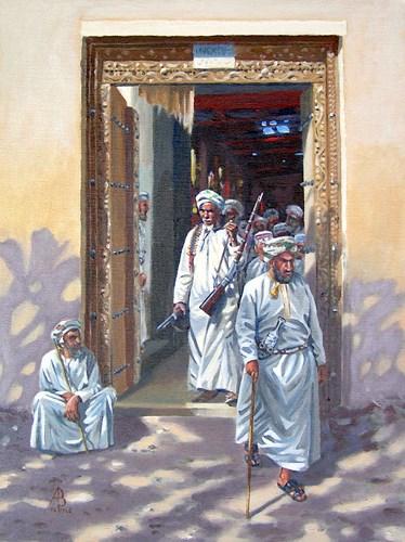 """Gunseller, Nizwa, Oman"" original fine art by Alix Baker PCAFAS AUA"