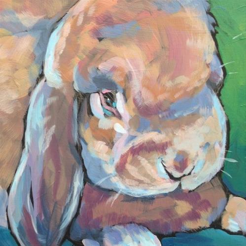 """""""Love Bunny"""" original fine art by Kat Corrigan"""