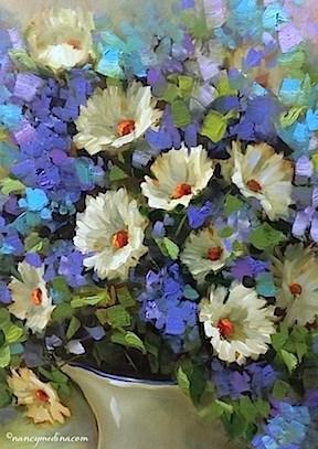 """Blue Dapple White Daisies - Flower Paintings by Nancy Medina"" original fine art by Nancy Medina"