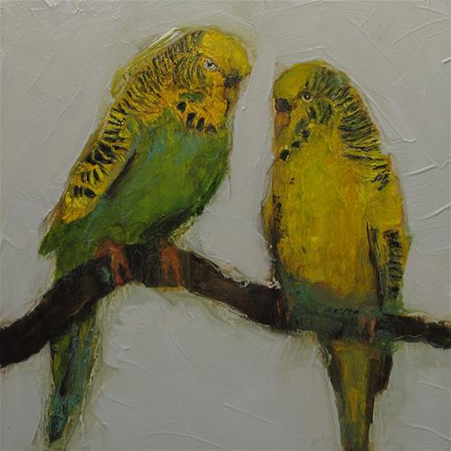 """PARAKEETS Parrots Abstract Bird Original Art Colette Davis 6x6 Painting OIL"" original fine art by Colette Davis"