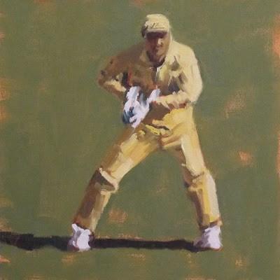 """WICKET KEEPER -Cricket at the MCG"" original fine art by Helen Cooper"