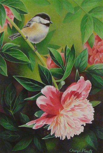 """""""Chickadee and Peony"""" original fine art by Cheryl Plautz"""