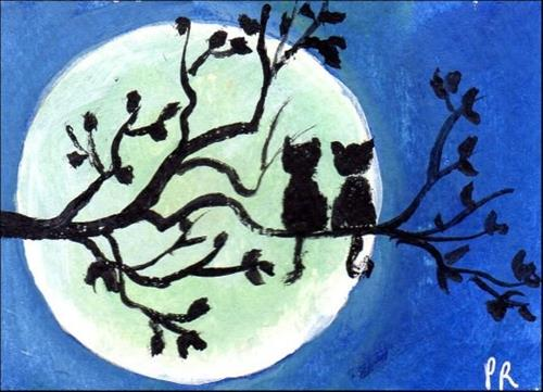 """Cats Moonwatching"" original fine art by Patricia Ann Rizzo"