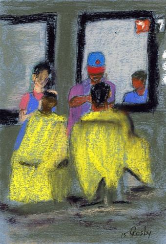 """""""Barber Station 7 and Before Me"""" original fine art by Donna Crosby"""