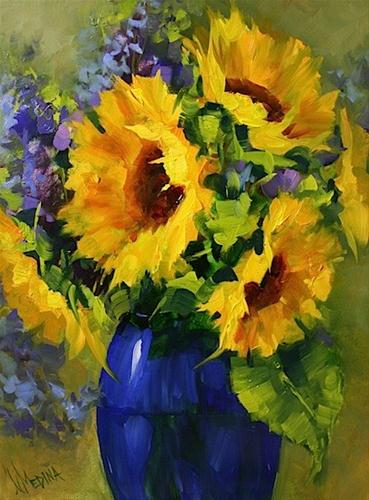 """Sun Star Sunflowers and a Painting Giveaway by Texas Artist Nancy Medina"" original fine art by Nancy Medina"