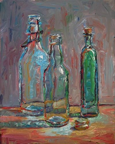 """Three Bottles and Cap"" original fine art by Raymond Logan"