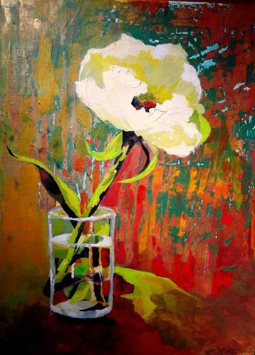 """""""One Lonely Peony"""" original fine art by Laurie Mueller"""
