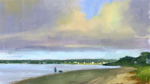 """Walking the dog"" original fine art by Kathy Weber"
