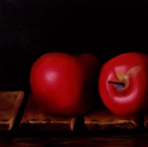 """Apples on an Old Wood Crate"" original fine art by ~ces~ Christine E. S. Code"