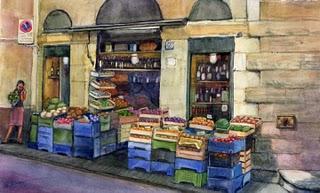 """Watercolor: Fruit & Wine Market in Florence"" original fine art by Belinda Del Pesco"
