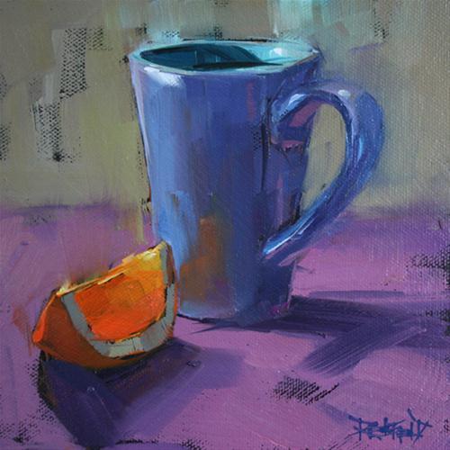 """orange glow and cup"" original fine art by Cathleen Rehfeld"