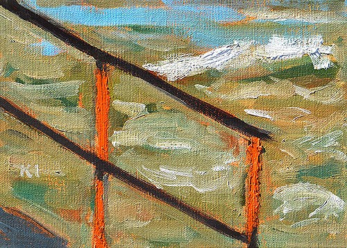 """Rusty Handrail, Ocean Beach"" original fine art by Kevin Inman"