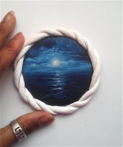 """Mini Night Seascape"" original fine art by Camille Morgan"