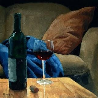 """Wine Night (challenge painting)"" original fine art by Michael Naples"
