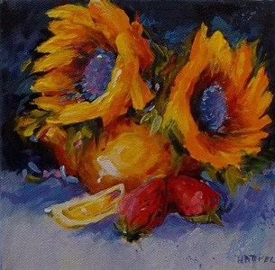 """Copper Pot of Sunflowers"" original fine art by Alice Harpel"