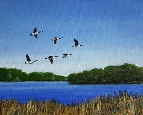 """""""Geese over Redhaw"""" original fine art by Steve Gibson"""