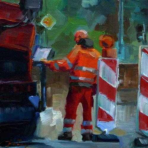 """Straßenarbeiter 2"" original fine art by Jurij Frey"