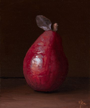 """Red Pear with Leaf"" original fine art by Abbey Ryan"