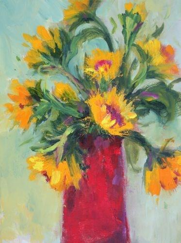 """Red Vase, Contemporary Still Life by Arizona Artist Amy Whitehouse"" original fine art by Amy Whitehouse"