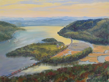 """""""Boats and Trains Along the Hudson"""" original fine art by Jamie Williams Grossman"""