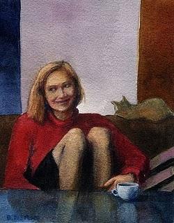 """Watercolor: German Coffee (& a Daily Painting by Aaron Lifferth)"" original fine art by Belinda Del Pesco"