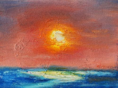 """""""Sunset, Contemporary Landscape Paintings by Arizona Artist Amy Whitehouse"""" original fine art by Amy Whitehouse"""