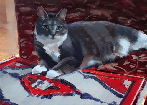 """""""Izzy on Oriental Rug (no.134)"""" original fine art by Michael William"""